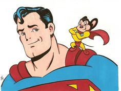 Superman Meets Mighty Mouse, Mighty Mouse real name was Supermouse but got changed in All Hd Wallpaper, Hd Cool Wallpapers, Looney Tunes Characters, Disney Characters, Fictional Characters, Comic Art, Comic Books, Mighty Mouse, Saturday Morning Cartoons