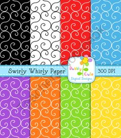 Swirly Whirly Digital Papers from Bubbly Cute on TeachersNotebook.com (8 pages)  - Free Swirly Whirly digital papers in pretty colors!