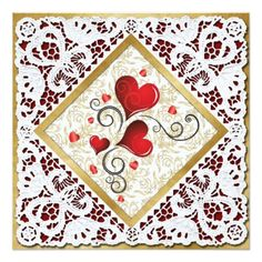 Red Hearts, Gold Damask & Lace Valentine Card