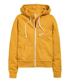Hooded jacket: Jacket in sweatshirt fabric with a lined drawstring hood and a zip and pockets at the front. H&m Jackets, Line Jackets, Outerwear Jackets, Sweat Shirt, Hooded Sweatshirts, Hoodies, Yellow Hoodie, Purple Jacket, Hoodie Outfit