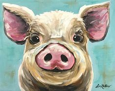 Pig art, pig decor. Pig print from original Pig on canvas painting. Pig art with turquoise background, cute whimsical pig art