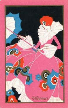 "Vintage NN Swap Playing Card ""Vivienne"" Beautiful Art Deco Lady with Parasol 