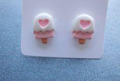 Cute Pink Ice Lolly Heart Resin Stud Earrings sur Etsy, $4.29