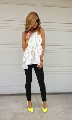 black and white outfit with pop of neon yellow