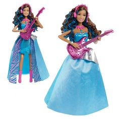Barbie Rock 'n Royals Erika Doll. I like her voice cast omg! She sings so many times with her... you know, her pitch up n down n little fresh sound -,- i think itsbetter of u watch it yourselves