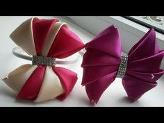 DIY Как сделать очень нарядный бант из атласной ленты/Very elegant bow of satin ribbon - YouTube