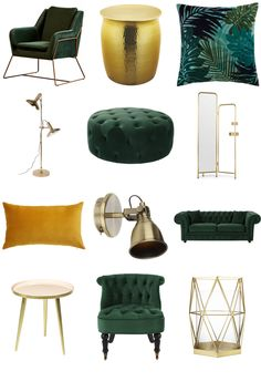 View the Luxe Green and Gold Living Room Inspiration Board by Furnishful for gre. - View the Luxe Green and Gold Living Room Inspiration Board by Furnishful for great Living Room Idea - Design Living Room, Living Room Green, Home Living Room, Apartment Living, Living Room Furniture, Rustic Furniture, Cheap Furniture, Furniture Sets, Dark Furniture