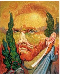 """Double Dutch"" - Optical Illusion Oil Painting by Oleg Shuplyak (Ukraine, b.1967)  This painting shows two portraits of post-impressionist Vincent Van Gogh, one of which is used to create the nose of the main image.  Read more: http://www.dailymail.co.uk/news/article-2088703/Oleg-Shuplyak-More-intricate-oil-paintings-hide-meets-eye.html#ixzz2pWWrkve3"