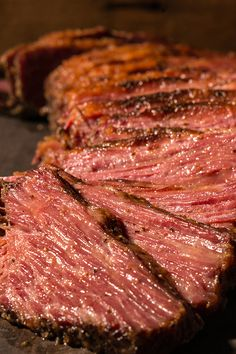 Homemade beef pastrami is cured for 5 days, then smoked for The end result is worth the wait and effort — get ready for the best pastrami of your life. Corned Beef Recipes, Traeger Recipes, Grilling Recipes, Smoked Pastrami Recipe, Steak Recipes, Corn Beef And Cabbage, Cabbage Recipes, Gourmet, Smoker Recipes