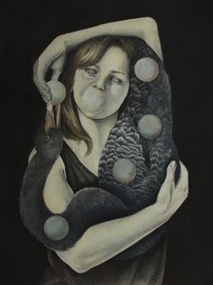 Sonya G Peters Kosmos - 2013 Charcoal, watercolour, collage 44 x 55 cm Sofitel Hotel, Watercolour, Charcoal, Collage, Portrait, Art, Cirque Du Soleil, Pen And Wash, Art Background