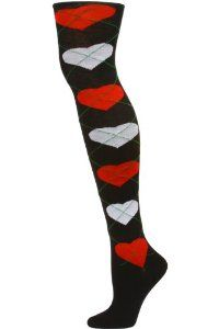 Yelete Argyle Hearts Over the Knee Socks - 1 Pair - Black/Red/Grey by Yelete. $7.99