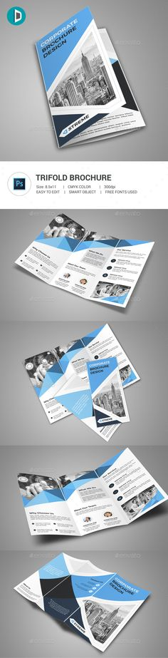 Trifold #Brochure - Corporate #Brochures Download here: https://graphicriver.net/item/trifold-brochure/19580957?ref=alena994