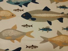Curtain panel beige grey blue fishes Scandinavian Modern decor , table runner , napkins , pillow , curtain available, great GIFT