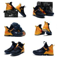 big sale 533e8 c885d Factory Authentic April 2017 Nike LeBron 14 XIV New Cavs Colorways Midnight  Navy Metallic Gold Mens Basketball Shoes 2018 On Line