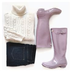 Rainy day style - lilac Hunter boots