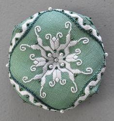 """Punto antico biscornu """"Lilies Biscornu"""" designed by Kathryn Drummond"""