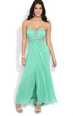 Deb Shops Strapless Long #Dress with Chunky Stone Twisted Waist $89.90...PROM SALE $44.95