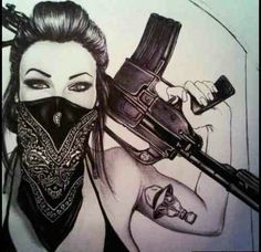 Gangsta girl gas mask and all)) Gangster Tattoos, Chicano Tattoos, Body Art Tattoos, Girl Tattoos, Sleeve Tattoos, Tatoos, Arte Dope, Dope Art, Acab Tattoo