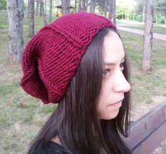 #WinterBohoOutfits Knit Hat Slouchy Hat Gift for Her Burgundy by DragonflyStrand