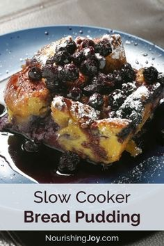 This easy, delicious Sunday Morning Slow Cooker Bread Pudding will have you jumping out of bed. | Nourshing Joy
