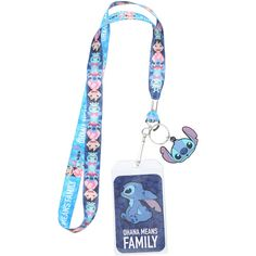 Loungefly Disney Lilo Stitch Ohana Lanyard Hot Topic ❤ liked on Polyvore featuring costumes, stitch halloween costume, white halloween costumes, stitch costume and white costumes