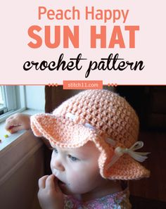This Peach Happy Sun Hat crochet pattern is suitable for little toddlers that still has little to no hair - to protect them from the sun!