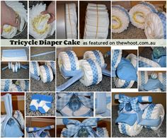 You will love these easy Tricycle Diaper Cake Instructions. It makes the perfect baby shower gift and we have lots of great versions and videos to try. Diaper Bike, Tricycle Diaper Cakes, Diaper Cake Boy, Nappy Cakes, Cake Baby, Diaper Cakes For Boys, Diaper Motorcycle Cake, Baby Shower Crafts, Baby Crafts