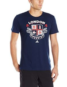 adidas Men's Tennis Graphic Tee, Large, Collegiate Navy/Wimbledon *** Want additional info? Click on the image.