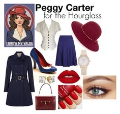 """""""Peggy Carter for the Hourglass"""" by custom-chaos on Polyvore featuring Pinup Couture, Hobbs, Yumi, Lanvin, Lime Crime, Hermès, women's clothing, women, female and woman"""
