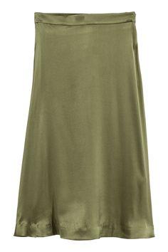H&M Silk-blend Skirt - Dark khaki green - Women Dark Khaki, Khaki Green, Dark Blue, Calf Length Skirts, Satin Skirt, H&m Online, Skirt Outfits, Neue Trends, Lady