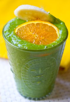 This sweet green smoothie is filled not only with kale, but also mango, orange, and other fruits! Mmm ... mango.