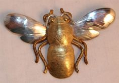 Vintage sterling and gold bee brooch