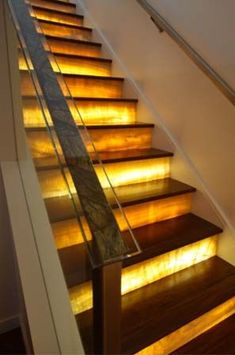 Stair Risers that we can replace with our thin, lightweight, stone veneer panels. Stairway Lighting, Basement Lighting, Ceiling Lighting, Modern Classic Interior, Contemporary Interior, Stone Veneer Panels, Stair Steps, Stair Risers, Banisters