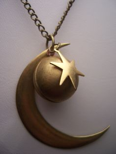 Solar system necklace - Celestial  Crescent Moon and stars orb locket brass necklace