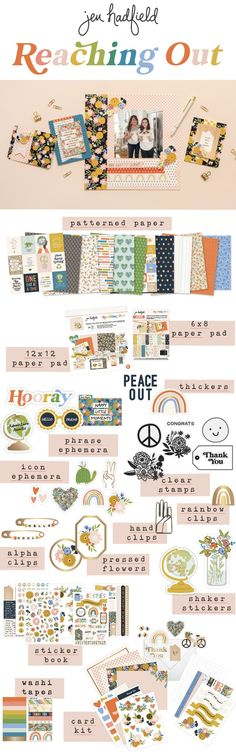 Jen Hadfield | Reaching out collection Washi Tape Cards, Card Kit, Clear Stamps, Ephemera, Rainbow, Stickers, Paper, Books, Collection