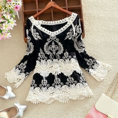 New Fashion Women Summer Loose Long Sleeve Shirt Casual Blouse Lace T-Shirt Tops #Unbranded #Blouse #Casual