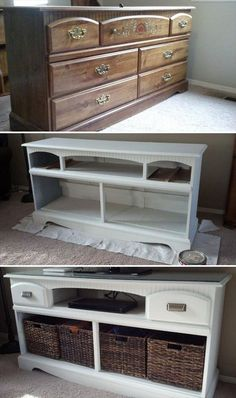 TV Stand Makeover: Turn an old wooden dresser into this gorgeous TV stand with s. : TV Stand Makeover: Turn an old wooden dresser into this gorgeous TV stand with some white paints and a bit of woodworking! Love this creative DIY furniture for my home! Diy Furniture Hacks, Furniture Projects, Home Furniture, Furniture Design, Bedroom Furniture, Cream Furniture, Furniture Plans, Furniture Stores, Street Furniture