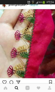 This Pin was discovered by Gül Embroidery Stitches, Hand Embroidery, Embroidery Designs, Needle Tatting, Needle Lace, Thread Art, Needle And Thread, Hairpin Lace, Crochet Needles