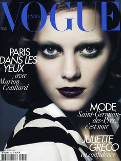 Marion Cotillard goes Goth on the cover of Vogue Paris. You go cheri!