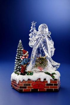 Pack of 2 Icy Crystal Animated Musical Christmas Santa Snow Globe 9.75' >> Special  product just for you. See it now! : Home Decor Snow Globes