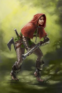 Red Hooded Hunter with Blunderbuss