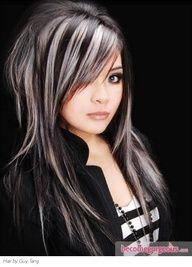 Blonde highlights on black hair- cute edgy look.