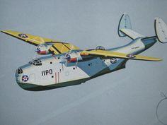1940's Vintage WW2 Jaffee Martin PBM Mariner Airplane Poster Print