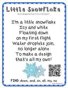 Poetry Kindergarten Shared Reading Free by Snowflakes, Preschool Music, Winter Songs For Preschool, Preschool Christmas Songs, Winter Activities, Christmas Songs For Toddlers, Christmas Time, Kindergarten Poems, Texts
