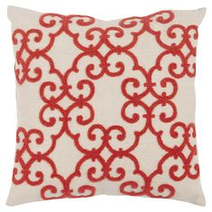 Add a pop of pattern to your sofa or loveseat with this charming cotton and linen pillow, showcasing a scrolling motif in coral.  Pr...