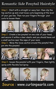 Romantic Side Ponytail Hairstyle | Pinterest Tutorials