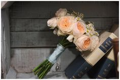 Peach David Austin rose bridal bouquet. The Wedding of my Dreams Stand At The National Wedding Show