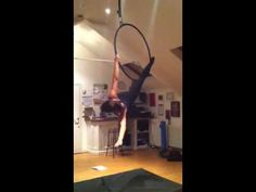 Aerial hoop front amazon move into angel move practice - YouTube