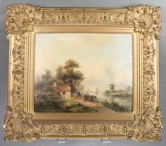 "LOT 451, A 19th Century Dutch oil on board, signed, figures beside a canal with distant windmills and buildings, indistinctly signed 10"" x 12"", SOLD £2200"