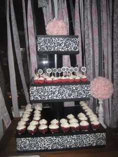 DIY Cupcake stand! Great for any Bridal Shower, Anniversary, or Wedding!      Materials List    49″ x 97″ x 3/4″ MDF Board (1 sheet)    Cut to size:  24″ x 24″ (2 pieces)    17″ x 17″ (2 pieces)    12″ x 12″ (2 pieces)    4″ x 2′ PVC (2 pieces)    4″ PVC Coupling (4 each)    1/2″ 6′ All Thread Rod (1 piece)    1/2″ Hex Nuts (2 each)    Paint    1/2″ Flat Washer (2 pieces)    6-8 Knobs (to put on the bottom for feet)    2 yards of 44″ or wider fabric    32″ x 40″ Foam Board (1 piece)    Cut…